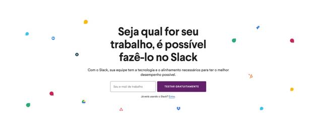 Otimizar landing page Slack